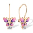 CZ and Enamel Butterfly Children's Earrings. 585 (14kt) Rose Gold