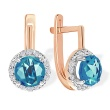 Halo Fancy Cut Blue Topaz Earrings. 585 (14kt) Rose Gold