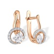 Earrings with Offsetted Swarovski CZs. 585 (14kt) Rose Gold