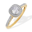 Swarovski Topaz and Diamond Engagement Ring. 585 (14kt) Yellow Gold, Rhodium Detailing