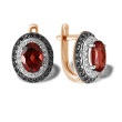 """Femme Fatale"" Garnet and CZ Earrings. 585 (14kt) Rose Gold"
