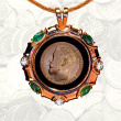 Gold Coin Pendant with Emeralds, Diamonds, Black Onyx
