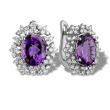 Oval Amethyst with Diamond Cluster Earrings. 750 White Gold, KARATOFF Series