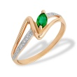 Emerald and Diamond Split-Shank Ring. Hypoallergenic 585 (14K) Rose Gold
