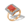 Baguette-cut Coral and CZ Ring