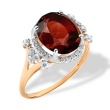 Oval-shaped Garnet and CZ Cocktail Ring. 'Empress' Series, 585 (14kt) Rose Gold