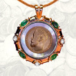 Gold Coin Pendant with Emeralds, Diamonds, Mother-of-Pearl