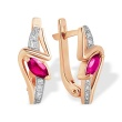 Marquise-shaped Ruby and Diamond Earrings. 585 (14K) Rose Gold