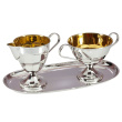 "Silver Tea and Coffee Set ""Amalia-3"". Sugar Bowl, Creamer and Serving Tray"