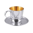 Coffee/Tea Silver Cup with Saucer. Hypoallergenic Antibacterial 925 Silver