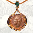 Coin Pendant with Emerald & Diamond