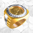 Rolex-inspired Russian Gold Coin Finger Ring