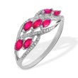 Marquise Ruby and Diamond Ring. 585 (14kt) White Gold