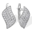Micro-Pave CZ  Leverback Earrings. 585 (14K) White Gold