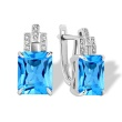 Emerald-cut Blue Topaz Diamond Earrings. 585 (14K) White Gold