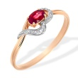 Oval Ruby and Diamond Ring. 585 (14kt) Rose Gold