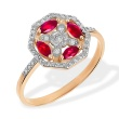 Art Deco Ruby and Diamond Octagonal Ring. 585 (14kt) Rose Gold