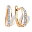 CZ Half-hoop Earrings for a Young Lady. Hypoallergenic 585 (14K) Rose Gold