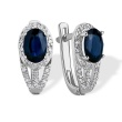 High-impact Sapphire and Diamond Earrings. 585 (14K) White Gold