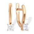 Princess-cut CZ by Swarovski Earrings. 585 (14K) Rose Gold