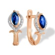 Marquise Sappire and Diamond Earrings. 585 (14K) Hypoallergenic Rose Gold