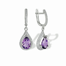 Amethyst Teardrop Leverback Earrings