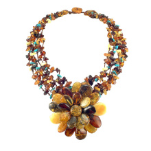 Amber Necklace With Turquoise Splash
