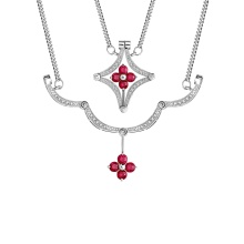 Ruby and Diamond Convertible Necklace. 585 (14kt) White Gold