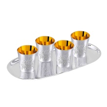 Tequilla Shot Glass Set '4 Caballeros'. Hypoallergenic Antibacterial 925 Gilded Silver