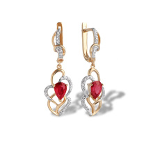 Ruby and Diamond Long Earrings. Art Deco-inspired Rose Gold Dangle Earrings