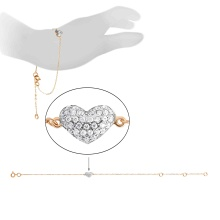 'Share Your Heart' CZ Adjustable Bracelet. 585 (14K) Rose Gold