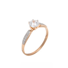 "Swarovski CZ Gold Ring. Set with 5mm CZ-""Twin"" of a 0.5ct Diamond"
