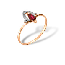 Marquise Ruby and Diamond Ring. Hypoallergenic 585 (14K) Rose Gold