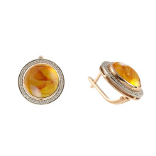 Amber & CZ Halo Earrings