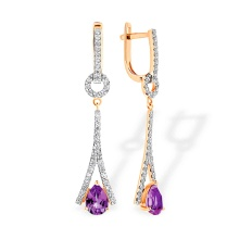 Eiffel Tower-inspired Earrings. Amethyst and Diamonds, 585 Rose Gold