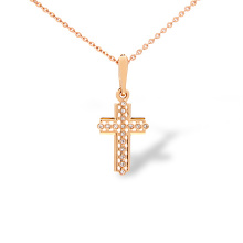 Catholic Rose Gold Cross with Diamonds