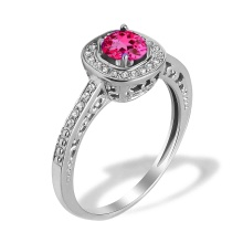 Madagascar Ruby Diamond Scrollwork Ring. Hypoallergenic 585 (14K) White Gold