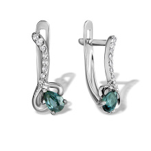 Aquamarine and Diamond Earrings. Hypoallergenic 585 (14K) White Gold