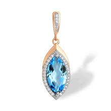 Marquise-shaped Blue Topaz Pendant. 585 (14K) Rose Gold