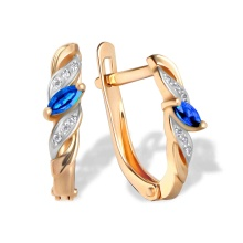 Marquise-cut Sapphire and Diamond Earrings. 585 (14kt) Rose Gold