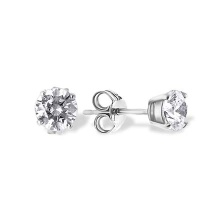 Round CZ Double Gallery Stud Earrings. Nickel Free 585 White Gold, Friction Backs