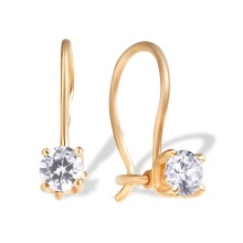 Water-Clean CZ Kids' Earrings. Hypoallergenic 585 Rose Gold