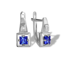 Princess Sapphire and Diamond Earrings. 585 (14K) White Gold