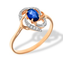 Flower-Inspired Diamond and Sapphire Ring. 585 (14kt) Rose Gold, Rhodium Detailing