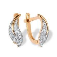 Pave CZ Leaf Leverback Earrings. 585 (14kt) Rose Gold, Rhodium Detailing