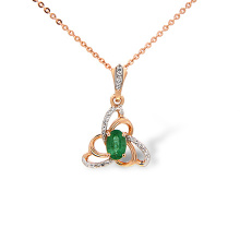 Emerald and Diamond Trefoil Knot Pendant