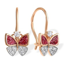 CZ and Enamel Butterfly Children's Earrings. 585 (14kt) Rose Gold, Rhodium Detailing