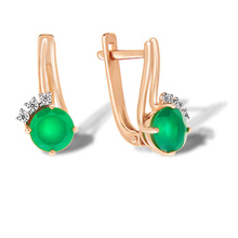 Round Green Onyx Rose Gold Earrings