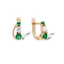 Kids Rose Gold Earrings. Emerald-like and Diamond-like CZ