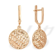 Diamond Cut Round Dangle Earrings. 585 (14K) Rose Gold